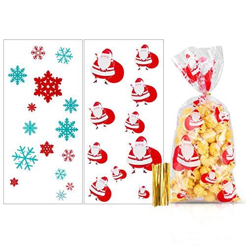 MELLIEX Bolsas de Celofan de Navidad, 100pcs Bolsa de Dulces