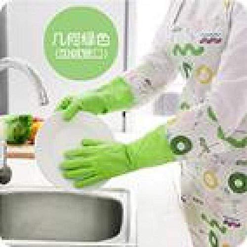 NewbieBoom 1PAIR Gant de Toilette en PVC avec Flanelle Gant de ménage pour la Vaisselle étanche à l'eau Arrêtez la poussière Nettoyez Le Gant en Caoutchouc LF 188 Bleu Ciel, Vert