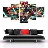 CVBGF Cuadro de 5 piezas de lienzo con impresión artística para niña, no tejida, listo para colgar, con marco/tamaño: M/W = 150 cm, altura = 80 cm