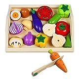 Holz Gemüse Spielzeug Küchenspielzeug Lebensmittel Kinderküche Schneidebrett Obst Spielküche Küchenspielzeug Essen Magnetische Holzspielzeug für Kinder Jungen und Mädchen