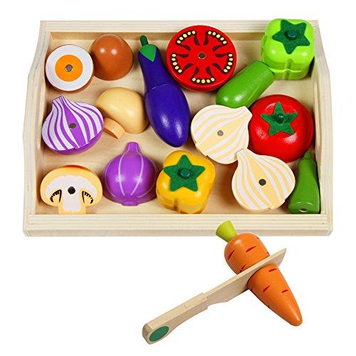 Mango Town Fruits et Légumes Jouets Bois Legumes a Decouper Aliments Jouet Jeux D'imitation Cuisine en Bois Jouet pour Enfant 3 4 5 6 7 Ans, 10 Légumes