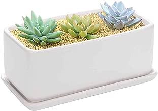 Vencer 10 Inch Rectangular Modern Minimalist Ceramic Succulent Planter Pot - Window Box with Saucer,Office Desktop Potted Stand,White,VF-001