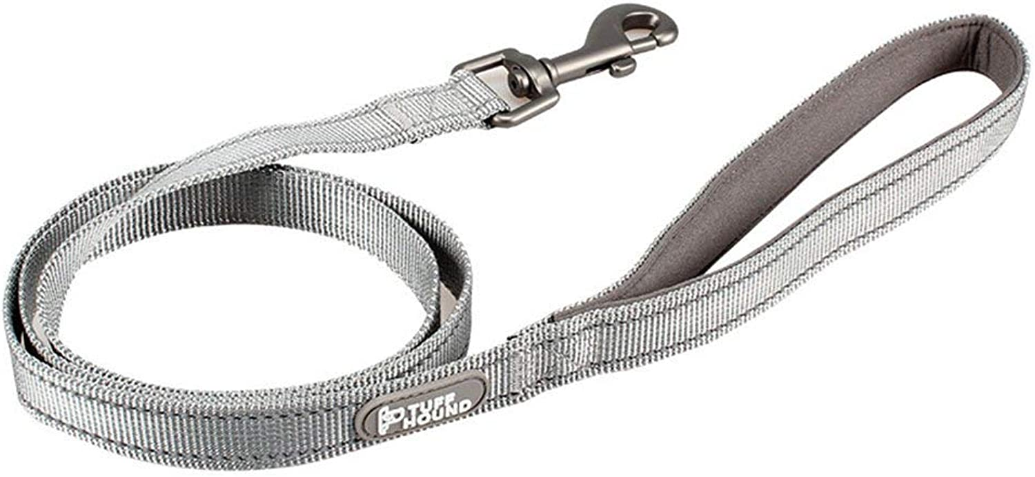 Dog Lead Leash Dog Chain Nylon Reflective Explosion Predector Tethered Dog Rope Suitable for Large Medium Dogs Teddy golden Retriever Hyena Dog Training Leash (color   Grey, Size   Large)