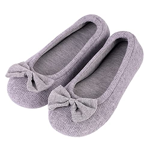 Ladies' Comfy Cotton Knit Memory Foam Ballerina Slippers Light Weight Terry...