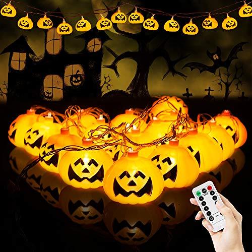 BLOOMWIN Catena Luminosa LED, Halloween Luci a Forma di Zucca 3m 20LED con Telecomando Decorazioni per feste Halloween Bianco caldo