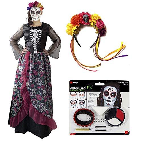 Party Fiesta Pack De Disfraz De Catrina para Mujer con Set De Maquillaje Y Diadema (L)