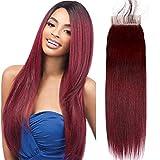Lace Cheveux Naturels BréSilienne Two Tone Closure Peruvian Hair With 4x4 Lace Closure 1b 99j Closure Human Hair Lace Front Closure With Baby Hair Straight Wine 14 Pouce