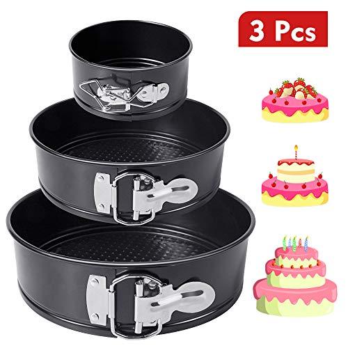 HomeMall Kuchenform Rund Set,Springform Cake Pans mit Flachboden Kuchenformen Auslaufsicher, Antihaftbeschichtet, 3 Größen