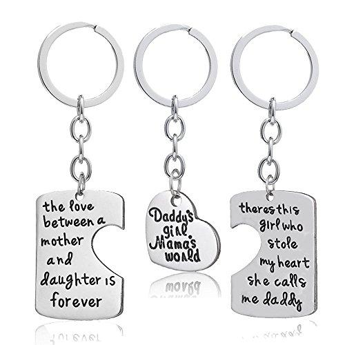 """3-teiliges Schlüsselanhänger-Set für Tochter/Vater/Mutter/die Familie, """"I Love U"""" Charms Bettelarmband-Anhänger, für Vater & Mutter, Neujahrs-Geschenk"""