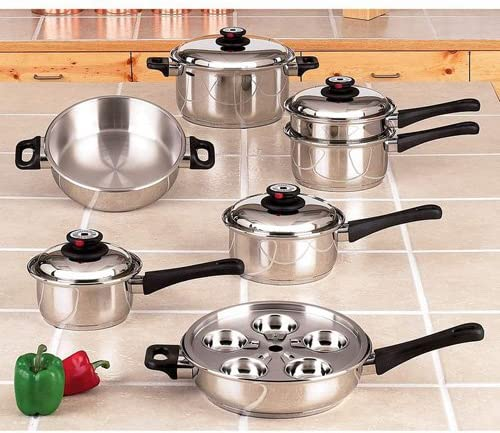 Maxam 9-Element Cookware Heavy Stainless Surgical Steel Construc Cheap bargain Max 88% OFF