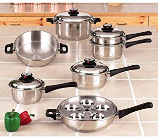 Maxam 9-Element Cookware Heavy Surgical Stainless Steel Construction High Dome Cover by Maxam