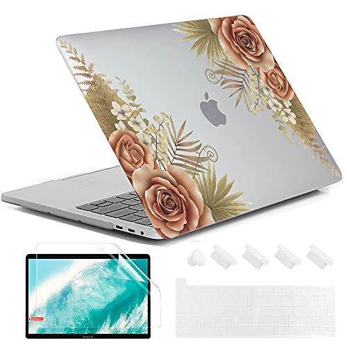 MUSHUI 4 in 1 Hülle für MacBook Pro 13 Zoll 2020 - 2016 Release A2338 M1 A2289 A2251 A2159 A1989 A1706 A1708, Weiche & strapazierfähige Kunststoff Schutzhülle für Apple Mac Pro 13', Flores 5