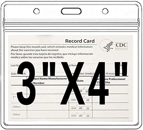 Protecteur de la carte de carte de 50 pièces Protecteur de carte de santé Covid de la carte de santé imperméable PVC 4x3 dans l enregistrement de la vaccination Badge de protection Badge PVC Soft Slee