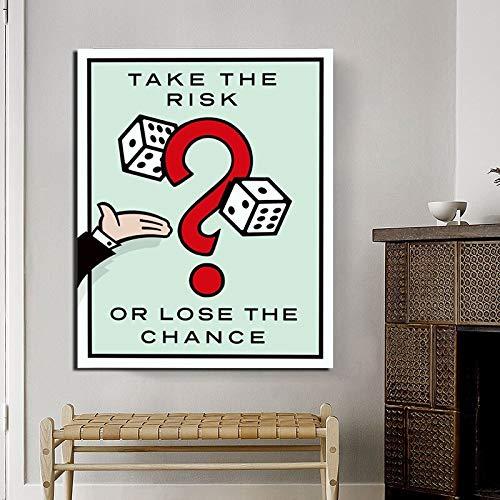 KWzEQ Gehen Sie Risiken EIN Leinwand Wandkunst Poster drucken Moderne Wandbilder für Wohnzimmer Wohnkultur,Rahmenlose Malerei,60x75cm