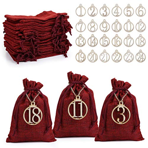 LIHAO Adventskalender zum Befüllen Jutesäckchen Rot Weihnachten Geschenksäckchen 24 Stück mit Zahlen Holz Deko Stoffbeutel Weihnachtskalender Bastelset Säckchen 10 x 15 cm