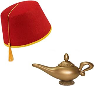 Magical Lamp and Fez Hat Costume Set, Red Gold, One Size
