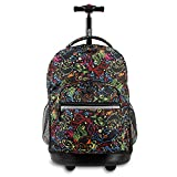 J World New York Sunrise Rolling Backpack, Doodle, 18'
