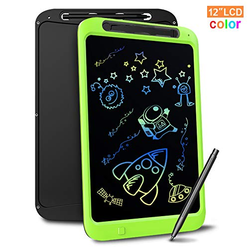 Richgv Bunte 12 Zoll LCD Writing Tablet mit Anti-Clearance Funktion und Stift, Digital Ewriter Grafiktabletts Mini Schreibtafel Papierlos Notepad Doodle Board Tolles (Grün)