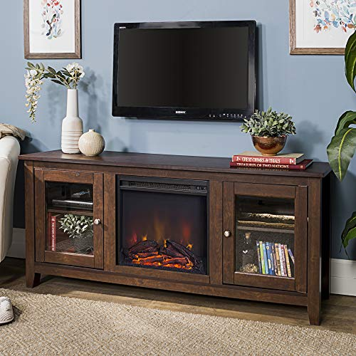 Walker Edison Rustic Wood and Glass Fireplace TV Stand for TV's up to 64