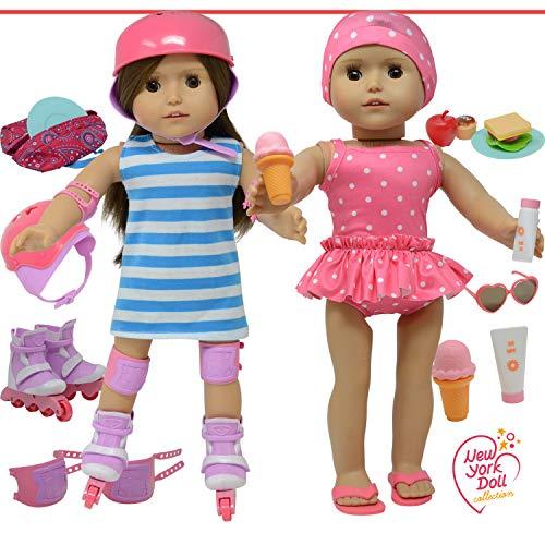 The New York Doll Collection 709951192078 Puppenzubehör passend für alle 46 cm Puppen – inklusive Rollschuhe und Badeanzug, Schwimmset für Mode-Mädchenpuppen – Puppenkleidung und vieles mehr Zubehör