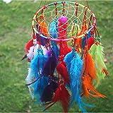 CHHGS Wind chimesTraumfänger Home Decor, Feder Dreamcatcher Windspiel Indischen Stil, Religiöse Maskottchen Auto Dekoration rot
