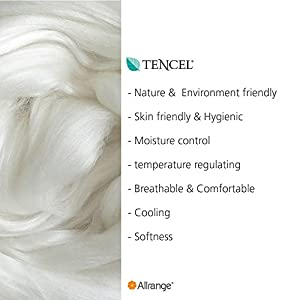"""Allrange 300TC Cool Tencel Clean&Safe Quilted Mattress Pad, Stretch-up-to 22"""", Fitted Tencel Polyester Fill, Silky Cotton Tencel Cover,Oeko-TEX Certified, Queen"""