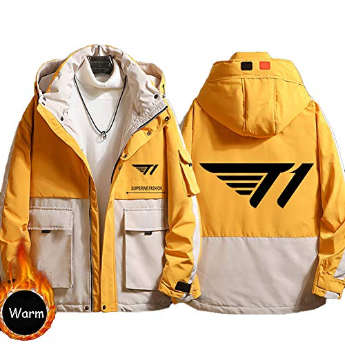73HA73 Herren Warme Winterjacke LOL League of Legends SKTelecom T1 E-Sport Coat Hoodie Übergangsjacke Sweatshirt Jacken (No Shirt),Yellow,2XL(180-185cm)
