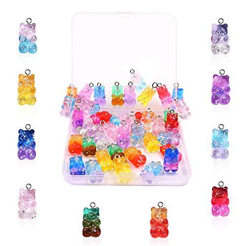 40 colgantes de oso colorido degradado con caja, colgante de resina de Roucerlin con anillo, adornos para hacer joyas, llaveros, pulseras, collares, pendientes (16 mm)