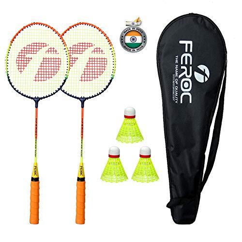 Feroc Steel Shaft Badminton Racket Set of 2 with 3 Pieces Nylon...