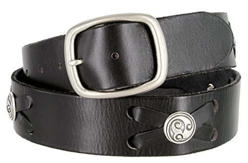 Celtic Swirl Conchos Belt Genuine Full Grain Leather Belt 1-3/4' Wide (Black, 34)