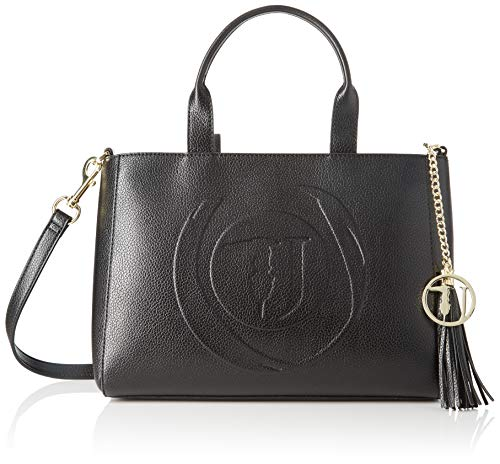 Trussardi Jeans Faith Shopper MD Tumbled Ecole, Borsa a Mano Donna, Nero (Black), 23.5x15x32 cm (W x H x L)