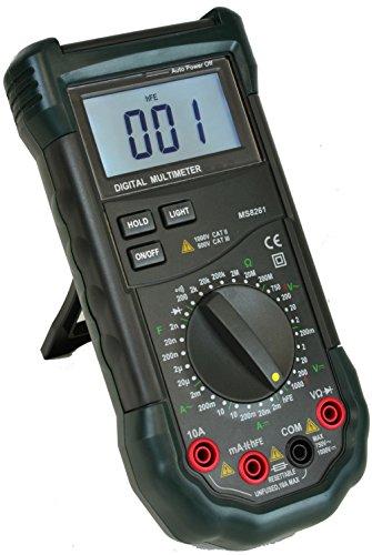 Mastech MS8261 3 1/2 Digital Multimeter AC DC Electrical Capacitance Resistance Transistor Tester Meter