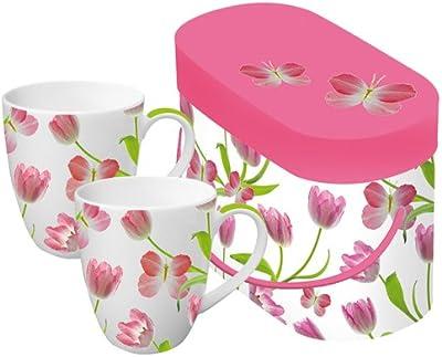 Paperproducts Design Tulips 330ml Porcelain Mug, Set of 2