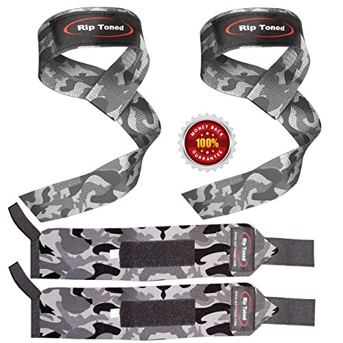 Lifting Straps + Wrist Wraps Bundle (1 PAIR of Each) by Rip Toned - *Bonus...