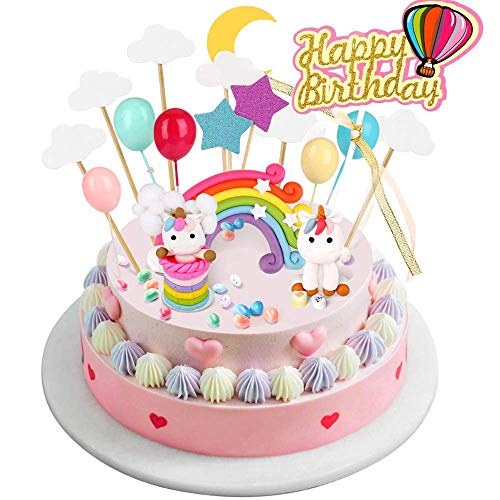 Joyoldelf 17 pezzi Decorazioni per Torta Unicorno - Unicorno Party con Arcobaleno Palloncini Nuvole Stelle Luna, Festa a Tema e Tecorazione Torta(Decorazioni Torta Unicorno)