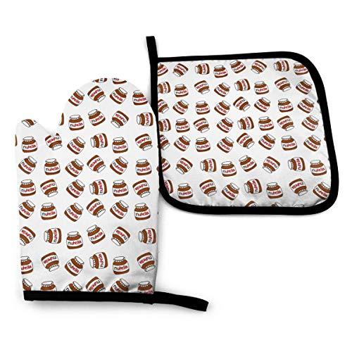 U Shape Ofenhandschuhe und Topflappen 2 Stück Set Nutella wasserdichte Küchenofenhandschuhe Hitzebeständiges Topfkissen zum Grillen Kochen Backen Grillen