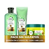 Herbal Essences Sin sulfatos ni Siliconas Paquete Champú + Acondicionador + Mascarilla Aloe y Aguacate, Ingredientes Naturales
