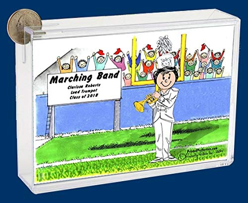 Personalized Friendly Folks Cartoon Caricature Bank: Marching Band – Trumpet – Female