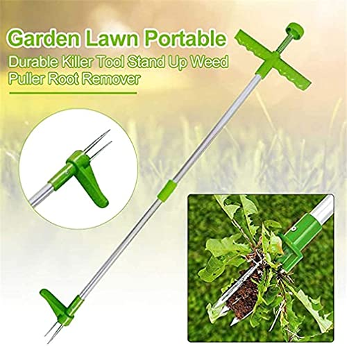Auralto Stand-Up Weeder Root Removal Tool with 3 Stainless Steel Claws for Garden, Standing Plant Root Remover, 39