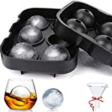 Ice Cube Trays - Easy Release Flexible Silicone Ice Ball Mold Ice Cube Mold, for Cocktails, Whiskey, Juice and Any Drinks- Reusable & BPA Free(Black)