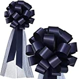 Navy Blue Wedding Pull Bows with Tulle Tails - 8' Wide, Set of 6, Memorial Day, President's Day, Christmas, Gift Bows, 4th of July, Police Support Bows, Birthday, Wedding, Pew Bows, Decoration