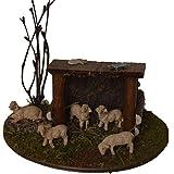 Alfred Kolbe Krippen AM 10 Weihnachtskrippen-Zubehör-Set Schafunterstand für 5-7 cm Figuren mit Schafen