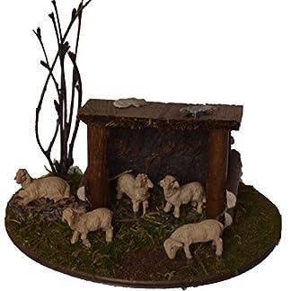 Alfred Kolbe Krippen Am 10 – Accesorios para belén (Refugio con ovejas, para Figuras de 5-7 cm)