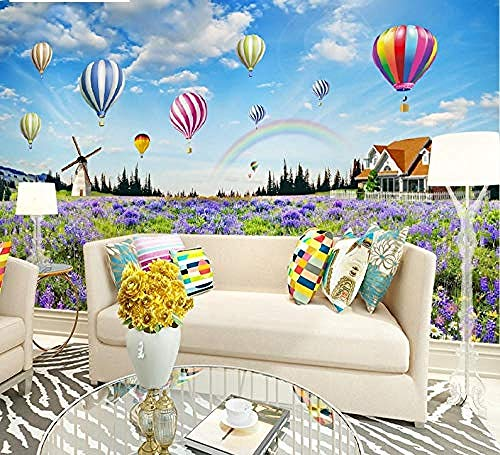 Foto Wallpaper HD Kinderzimmer Regenbogen Heißluftballon Traumschloss 3D Wandbilder Kinderzimmer Hintergrund Wandma Tapete wandpapier fototapete 3d effekt tapeten Wohnzimmer Schlafzimmer-200cm×140cm
