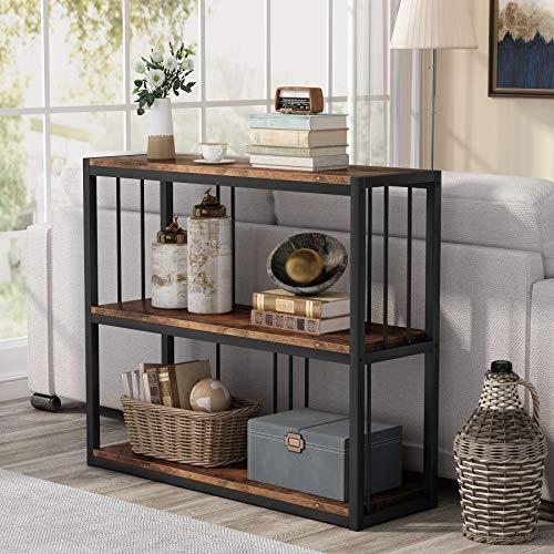 Tribesigns Mesa de consola para pasillo, sofá con estantes, mesa de entrada estrecha industrial para sala de estar, dormitorio, pasillo
