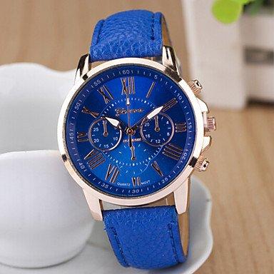 Schöne Uhren, Damen runden Zifferblatt Fall Leder Uhrenmarke Mode Quarzuhr Sportuhr ( Farbe : Blau , Großauswahl : Einheitsgröße )