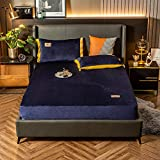 Nuoxuan Luxury Bed Sheets Extra Soft,Velvet Solid Color Embroidery Thick Bed Sheet Set,Non-Slip Protective Cover for Apartment Bedroom-Navy_1_120x200cm(2pcs)