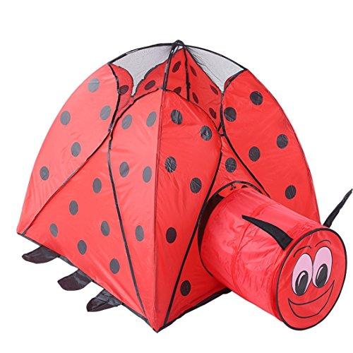 WEATLY Spielhaus Kinder Zelte Indoor Tunnel Käfer Cartoon Spielhaus Klapp Outdoor Baby Spielzeug Ball Pool Moskitonetz (Farbe : Red)