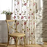 VOGOL Sheer Curtains 84 Inches Long, Red Floral Embroidered White Sheer Window Curtains for Living Room/Ding Room, Rod Pocket, W52 X L84, 2 Panels