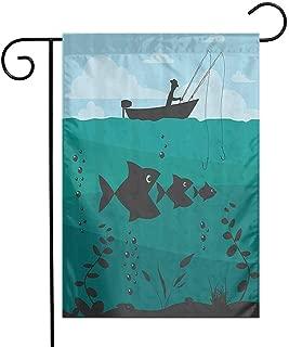 EMODFJCXZ Custom Design Garden Flag Fishing Decor Single Man in Boat Luring with Bobbins Nautical Marine Sea Nature Funky Image Weather Resistance Blue Teal